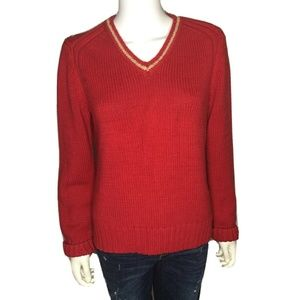 Tommy Hilfiger Jeans Women's Sz Large  Sweater Red